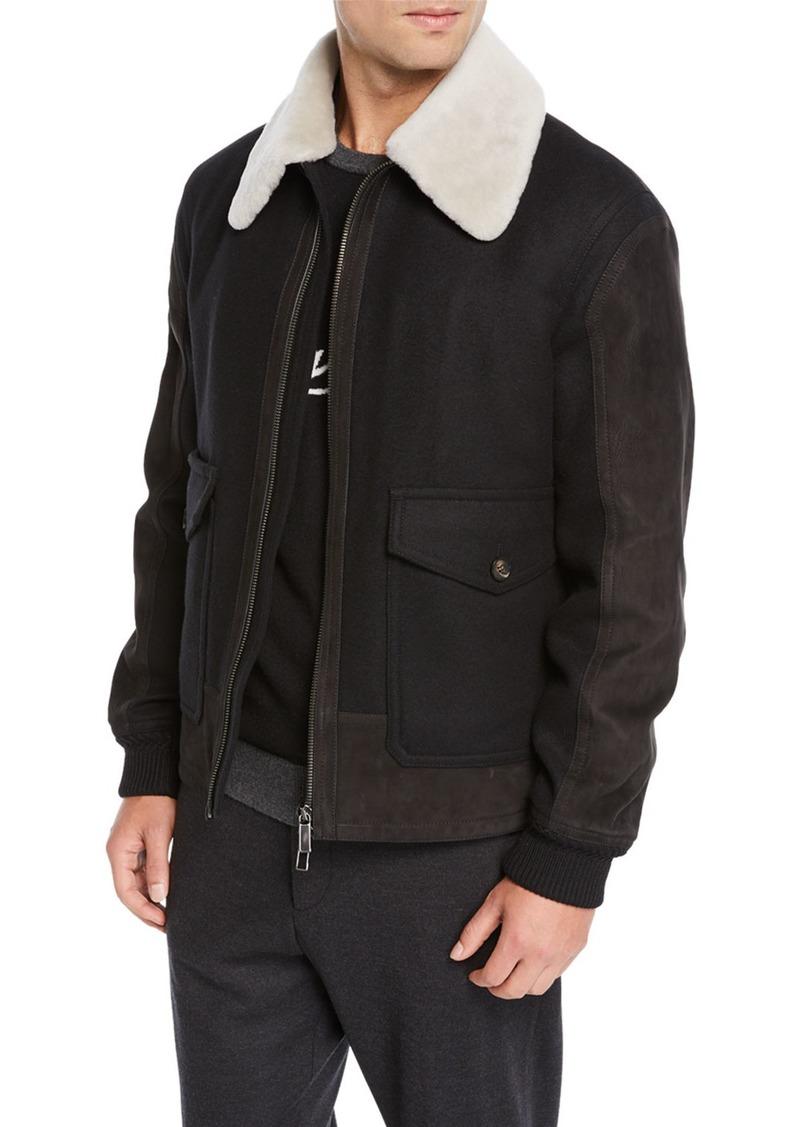 272289f4 Men's Double Wool Short Bomber Jacket