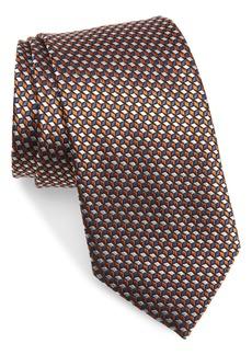 Men's Ermenegildo Zegna Embroidered Geo Pattern Silk Tie
