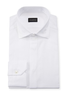 Ermenegildo Zegna Men's Formal Cotton Dress Shirt with Covered Placket