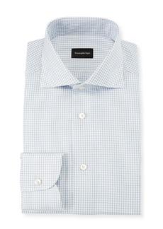 Ermenegildo Zegna Men's Graph Check Dress Shirt  Blue