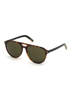Ermenegildo Zegna Men's Havana Acetate Aviator Sunglasses