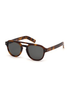 Ermenegildo Zegna Men's Havana Rectangular Acetate Sunglasses