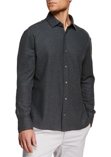 Ermenegildo Zegna Men's Heathered Knit Sport Shirt