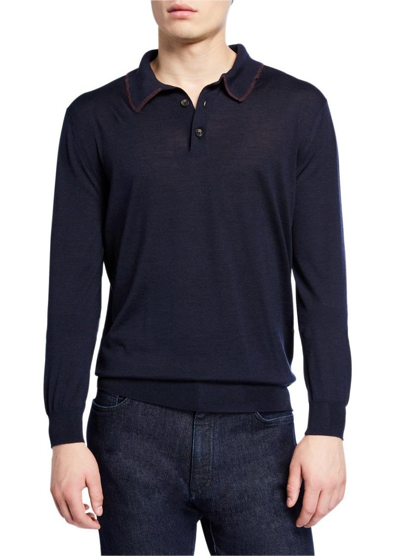 Ermenegildo Zegna Men's Long-Sleeve Polo Shirt w/ Contrast Trim