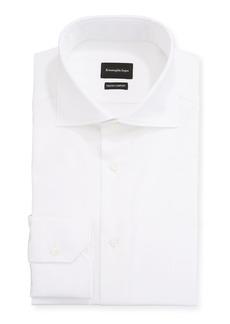Ermenegildo Zegna Men's Milano Fit Solid Trofeo Comfort Cotton Dress Shirt