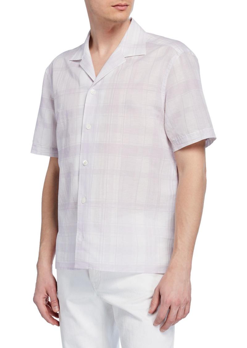 Ermenegildo Zegna Men's Plaid Short-Sleeve Sport Shirt