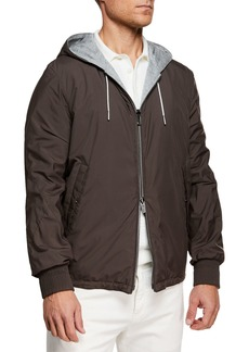 334c0b0c Ermenegildo Zegna Men's Double Wool Short Bomber Jacket