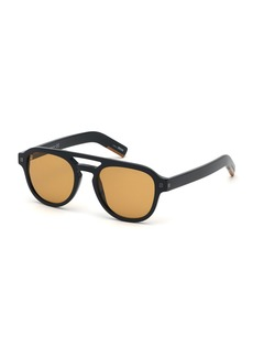 Ermenegildo Zegna Men's Rectangular Acetate Pilot Sunglasses