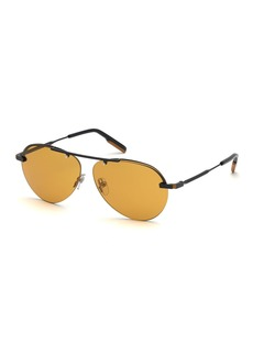 Ermenegildo Zegna Men's Semi-Shiny Half-Rim Sunglasses