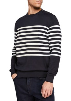 Ermenegildo Zegna Men's Striped Crewneck Sweatshirt with Buttons