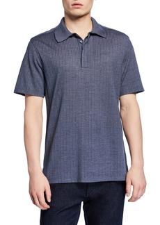 Ermenegildo Zegna Men's Textured Wool-Silk Regular-Fit Polo Shirt, Blue