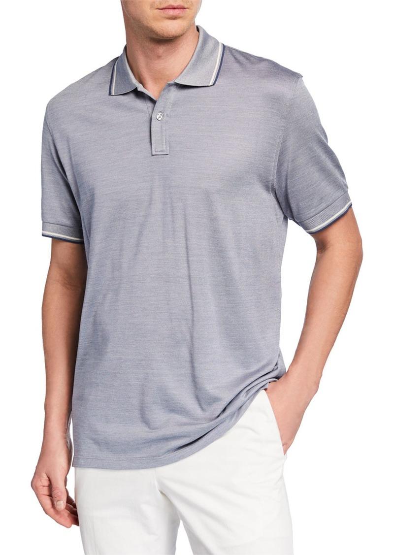 Ermenegildo Zegna Men's Tipped Cotton/Silk Polo Shirt