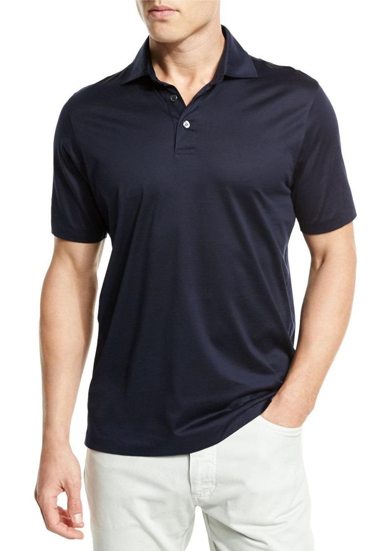 83b8992b Mercerized Cotton Polo Shirt Navy