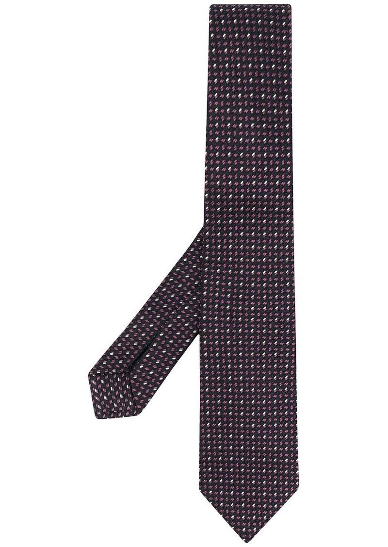 Ermenegildo Zegna pin-dots embroidered silk tie