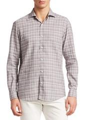 Ermenegildo Zegna Plaid Cotton Button-Down Shirt