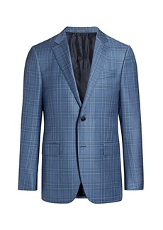 Ermenegildo Zegna Plaid Single-Breasted Wool Jacket