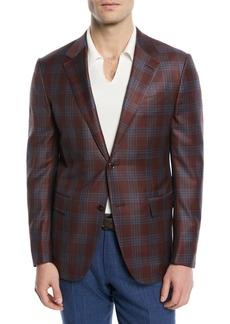 Ermenegildo Zegna Plaid Two-Button Wool Blazer