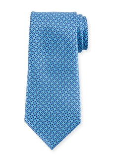 Ermenegildo Zegna Printed Lattice Silk Tie  Blue
