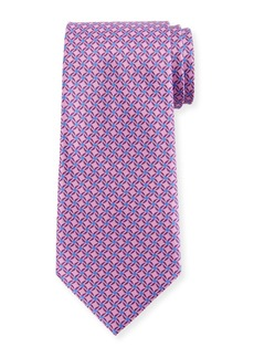 Ermenegildo Zegna Printed Lattice Silk Tie  Pink