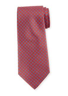 Ermenegildo Zegna Printed Lattice Silk Tie  Red