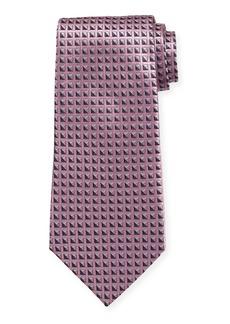 Ermenegildo Zegna Shaded Squares Silk Tie  Pink