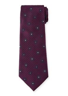 Ermenegildo Zegna Silk Medallion-on-Jacquard Tie  Purple