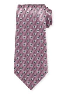 Ermenegildo Zegna Spaced Squares Silk Tie  Pink