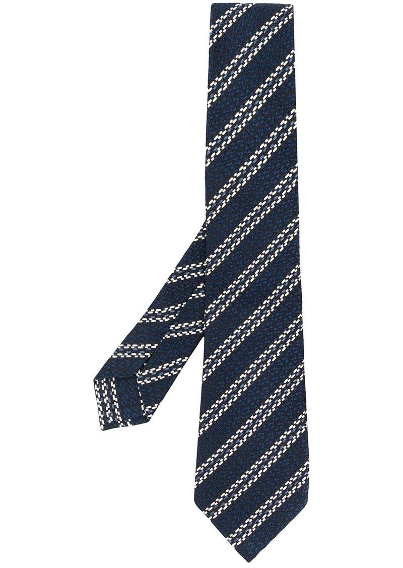 Ermenegildo Zegna striped embroidered silk tie
