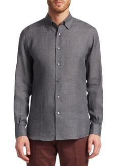 Ermenegildo Zegna Textured Cotton Button-Down Shirt