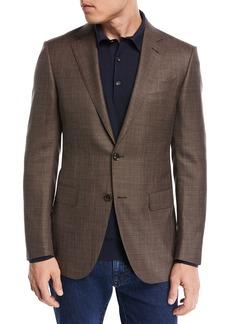 Ermenegildo Zegna Textured Wool Triblend Blazer  Brown