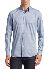 Ermenegildo Zegna Tie Print Cotton Button-Down Shirt