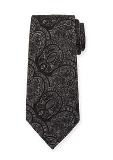 Ermenegildo Zegna Tonal Paisley Silk Tie  Black