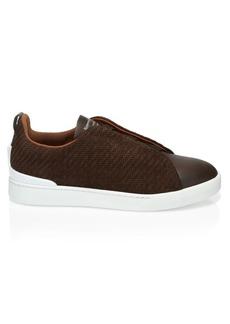 Ermenegildo Zegna Triple-Stitch Leather Sneakers