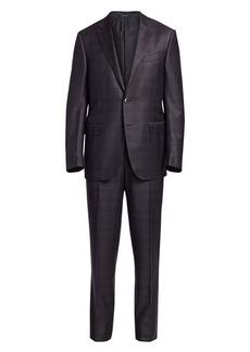 Ermenegildo Zegna Two-Button Wool Plaid Suit