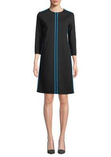 Escada 3/4-Sleeve A-Line Knit Dress w/ Piping