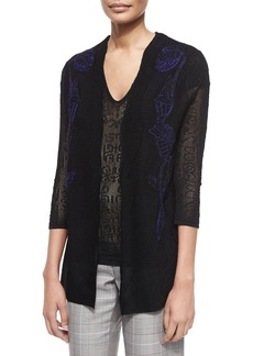 Escada 3/4-Sleeve Embroidered Lace Cardigan