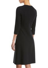 Escada 3/4-Sleeve Fit-and-Flare Wool-Blend Dress w/ Insets