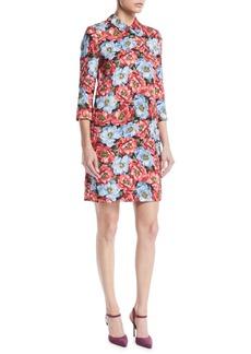 Escada 3/4-Sleeve Floral-Jacquard Daytime Shirt Dress