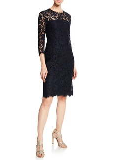 Escada 3/4-Sleeve Lace Illusion Dress
