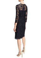 Escada 3/4-Sleeve Lace Illusion Dress