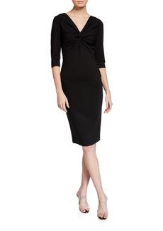 Escada 3/4-Sleeve Ruched Dress