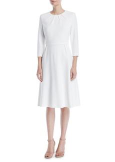 Escada 3/4-Sleeve Sun Pleat Neckline A-Line Dress