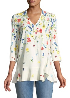 Escada 3/4-Sleeve V-Neck Floral-Print Top
