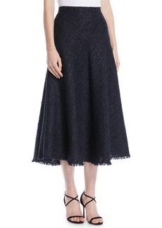 Escada A-Line Metallic Tweed Midi Circle Skirt