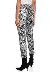 Escada Abstract Animal-Print Crepe Cropped Pants