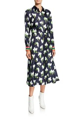 Escada Abstract Floral-Print Shirtdress