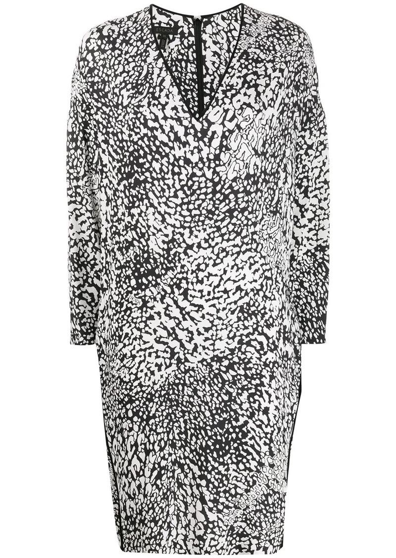 Escada abstract-print trimmed dress