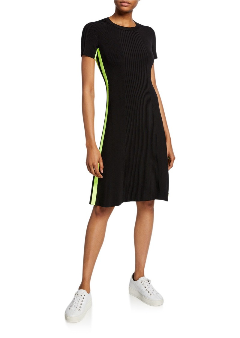Escada Amouel Side-Striped Ribbed-Knit Dress