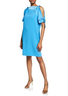 Escada Asymmetric Cold Shoulder Satin Dress