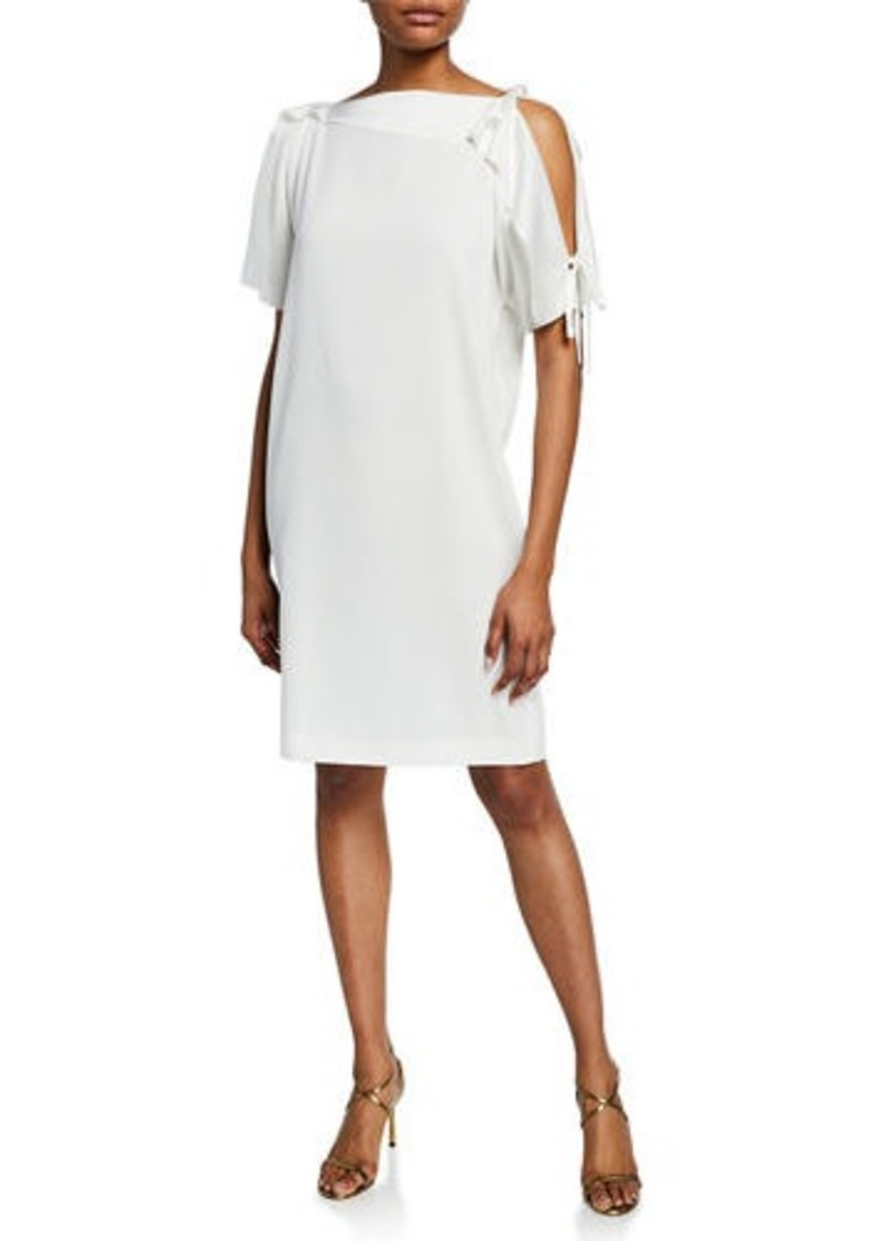 Escada Asymmetric Cold Shoulder Satin Dress